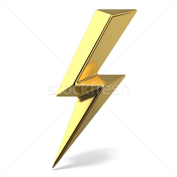 Dourado relâmpago dobrar símbolo um lado Foto stock © djmilic