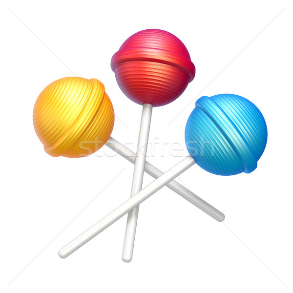 Three sweet lollipops 3D rendering illustration on white backgro Stock photo © djmilic