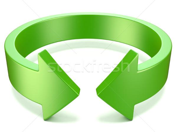 Yeşil yatay rotasyon ok işareti 3D 3d illustration Stok fotoğraf © djmilic