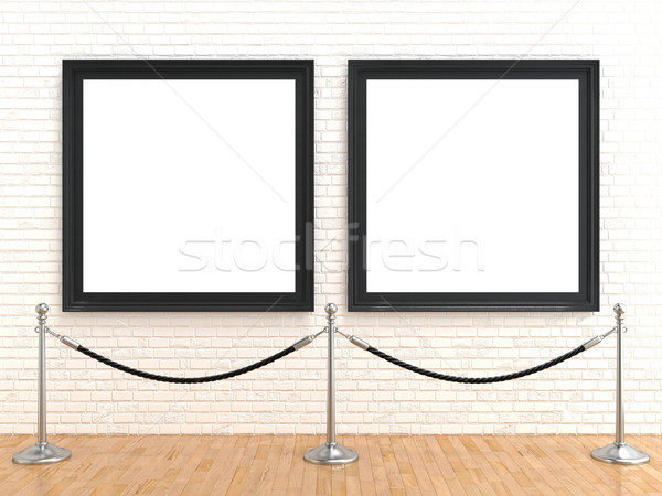 Two blank picture frame on brick wall, with stand rope barriers, Stock photo © djmilic