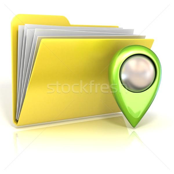 Mapa dobrador ícone 3D 3d render ilustração Foto stock © djmilic