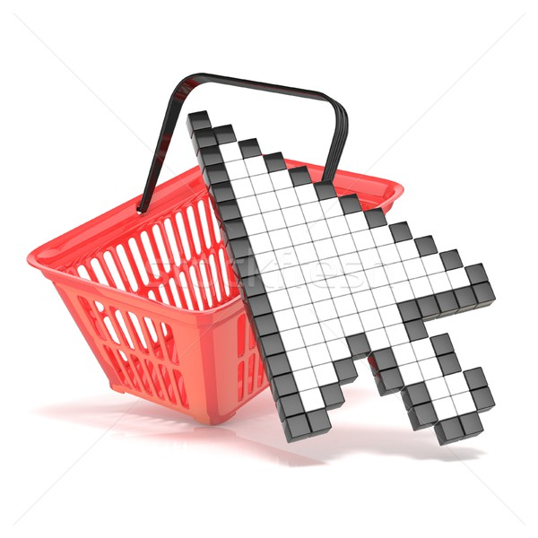 Shopping basket and pointing arrow cursor. Internet commerce con Stock photo © djmilic