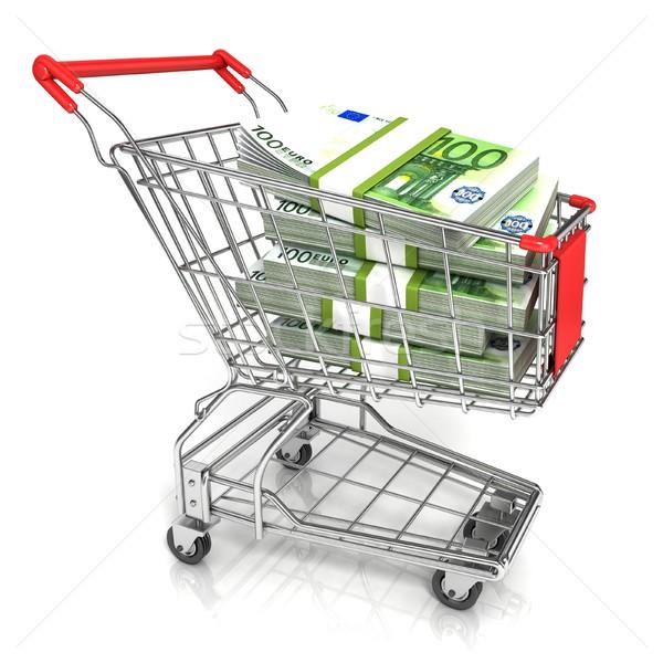 Geld euro cash bankbiljet winkelwagen 3D Stockfoto © djmilic
