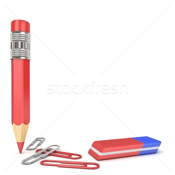 карандашом Eraser скрепку 3D 3d визуализации иллюстрация Сток-фото © djmilic