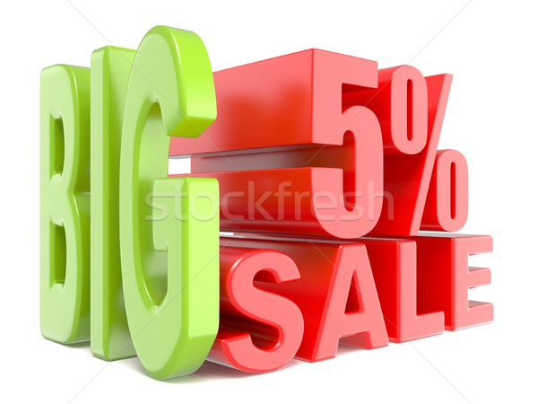 Big sale and percent 5% 3D words sign Stock photo © djmilic