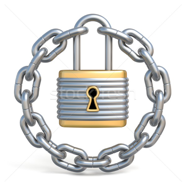 Circle chain with lock 3D Stock photo © djmilic