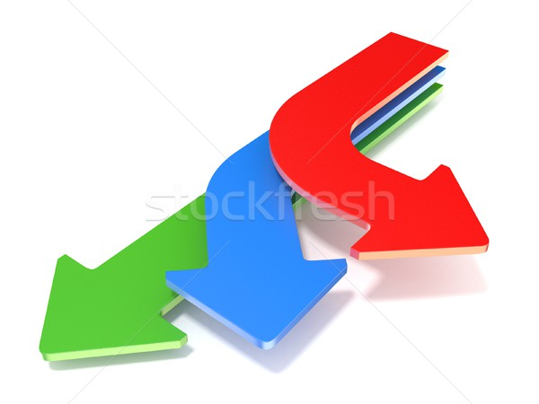 Stock photo: Three way arrows, showing three different directions. 3D