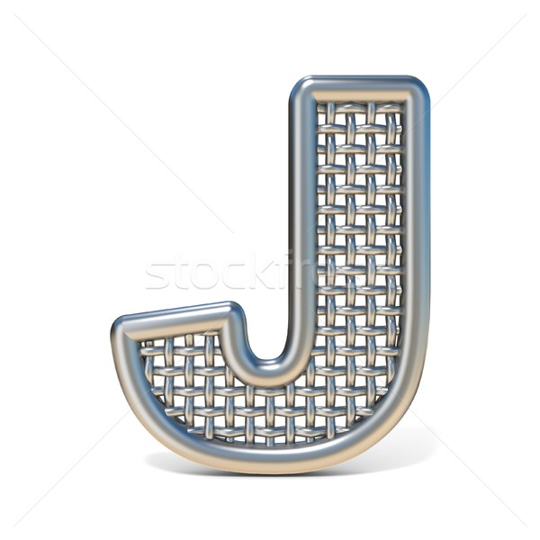 Outlined metal wire mesh font LETTER J 3D Stock photo © djmilic