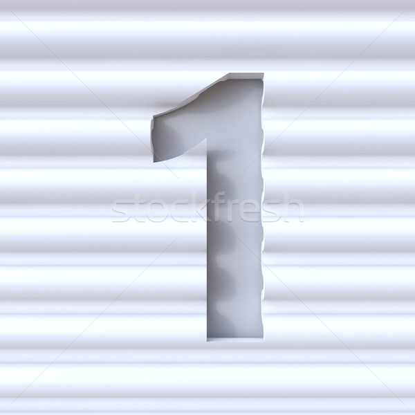Cut out font in wave surface NUMBER 1 ONE 3D Stock photo © djmilic