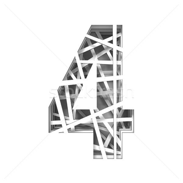 Papír kivágás betűtípus szám négy 3D 3d render Stock fotó © djmilic