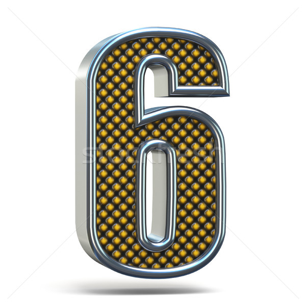 Chrome metal orange dotted font Number SIX 6 3D Stock photo © djmilic