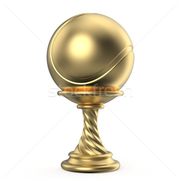 Foto d'archivio: Oro · trofeo · Cup · tennis · 3D · rendering · 3d