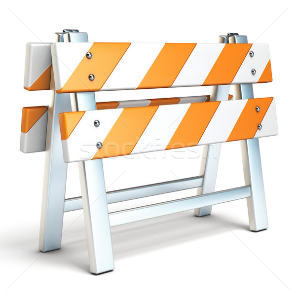 Under construction barrier side view 3D Stock photo © djmilic