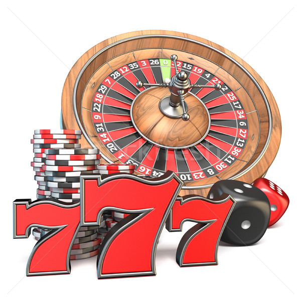 Roulette, dice, 777 and gambling chips 3D Stock photo © djmilic