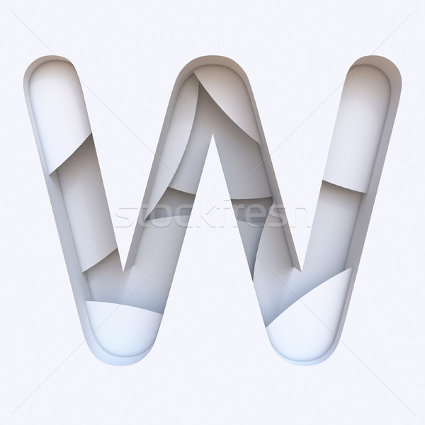 White abstract layers font Letter W 3D Stock photo © djmilic