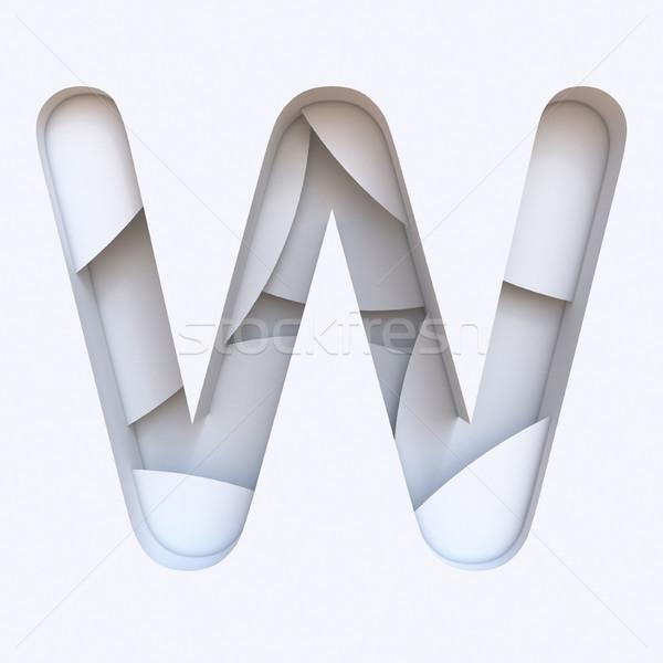 Bianco abstract carattere lettera w 3D Foto d'archivio © djmilic