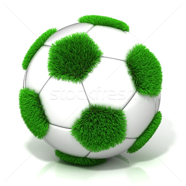 Football ball with grassy field instead black Stock photo © djmilic