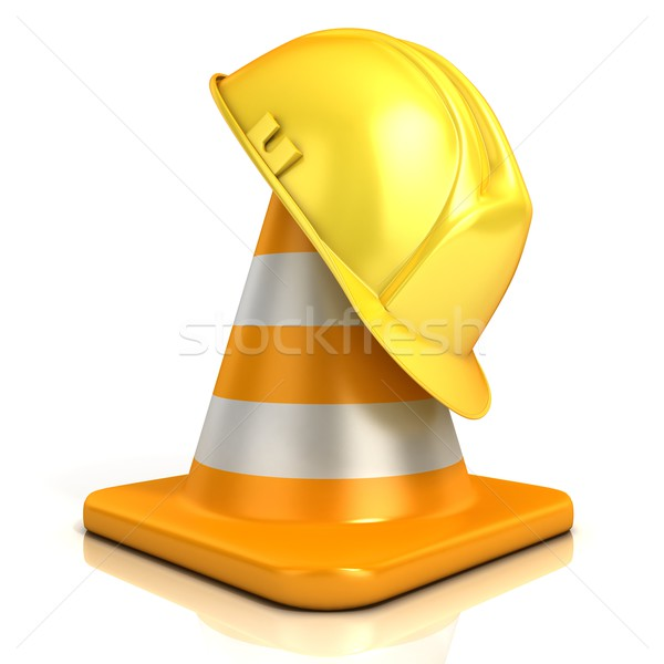 Traffic cone and safety helmet Stock photo © djmilic