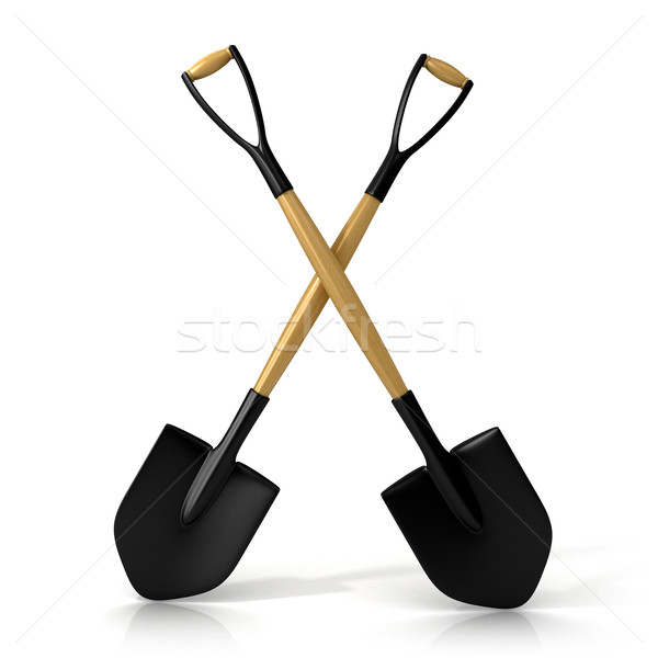 Crossing shovels isolated on white background. 3D Stock photo © djmilic
