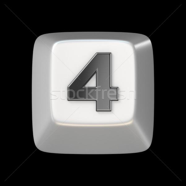 コンピュータのキーボード キー 番号 4 3D 3dのレンダリング ストックフォト © djmilic