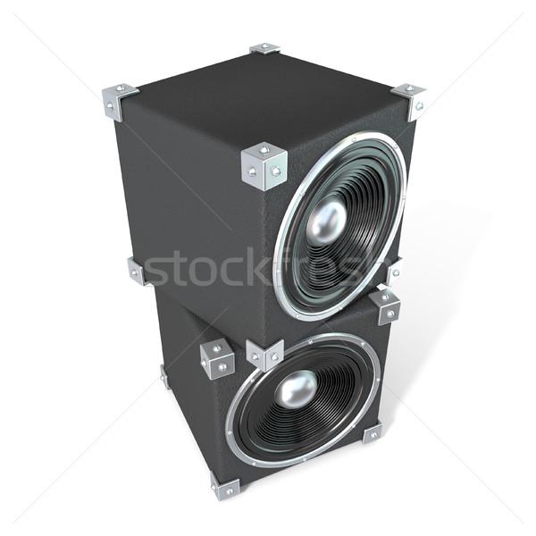Paar geluid sprekers 3D 3d render illustratie Stockfoto © djmilic