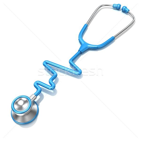 Kék sztetoszkóp forma elektrokardiogram vonal ekg Stock fotó © djmilic