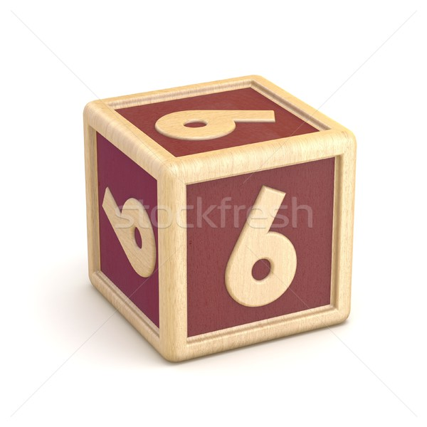 Number 6 SIX wooden alphabet blocks font rotated. 3D Stock photo © djmilic