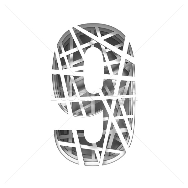 Paper cut out font number NINE 9 3D Stock photo © djmilic