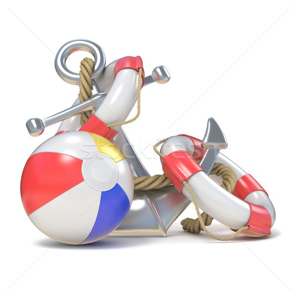 Steel anchor, beach ball and saving belt 3D Stock photo © djmilic