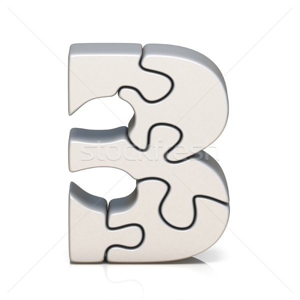 White puzzle jigsaw number THREE 3 3D Stock photo © djmilic