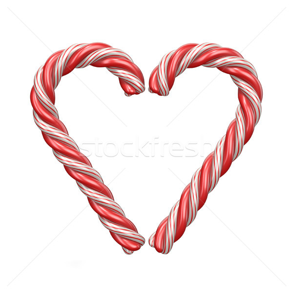 Christmas decoration heart made of candy canes 3D Stock photo © djmilic