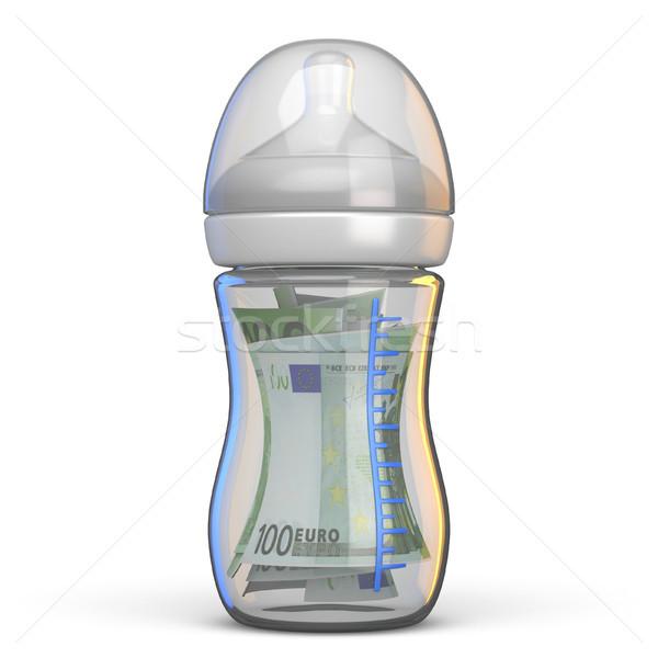 Baby bottle full of euro bills 3D Stock photo © djmilic