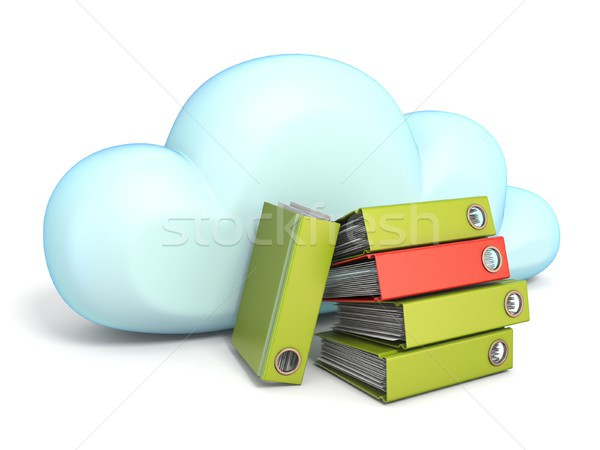 Cloud icon with office folders 3D Stock photo © djmilic