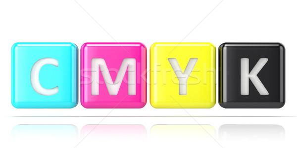 CMYK cubes. Abstract 3D Stock photo © djmilic