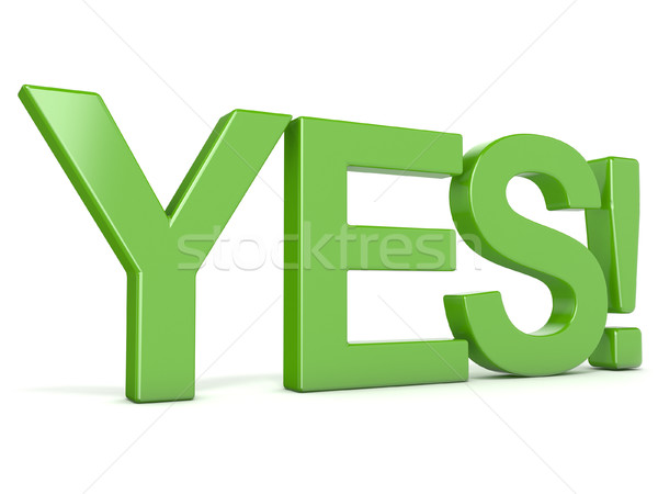Zielone słowo tak perspektywy widoku 3D Zdjęcia stock © djmilic