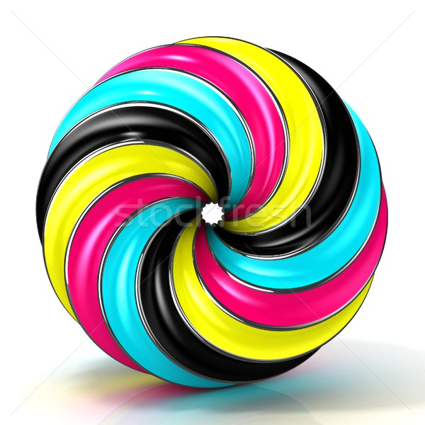 CMYK abstract circular sign, with shine edges Stock photo © djmilic