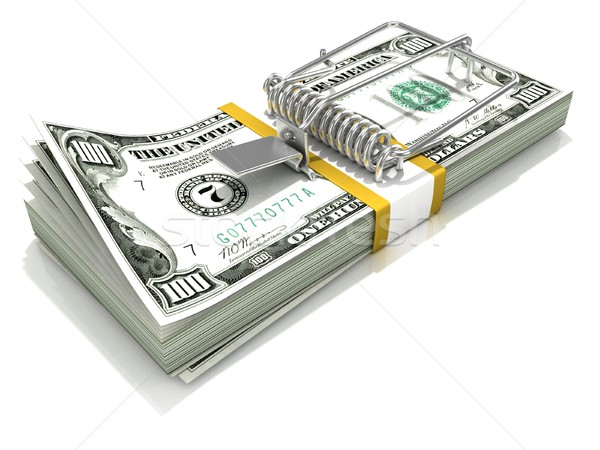 3D render mousetrap installed on dollar banknote stack Stock photo © djmilic