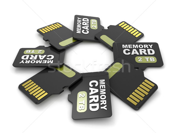 MicroSD memory cards, front and back view 2 TB. Circular arrange Stock photo © djmilic