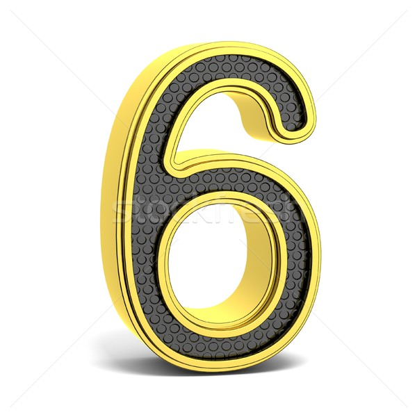 Golden and black round font. Number 6. 3D Stock photo © djmilic