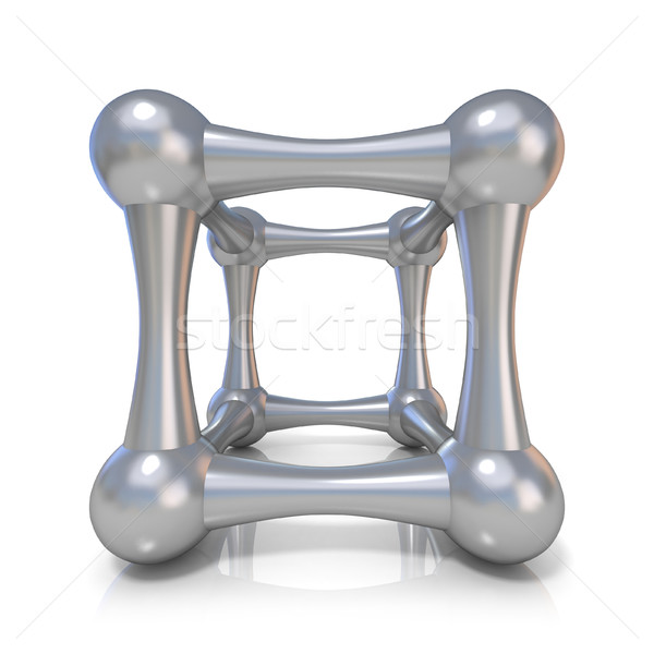 Metal lattice cube. Front view. 3D Stock photo © djmilic