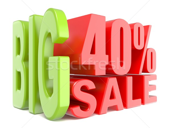 Stock photo: Big sale and percent 40% 3D words sign