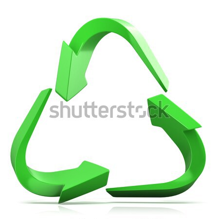 Green recycle sign, three arrows 3D Stock photo © djmilic