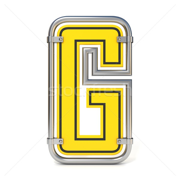 Stock photo: Framed traffic road sign FONT letter G 3D