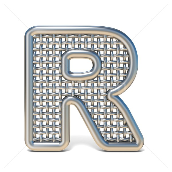 Outlined metal wire mesh font LETTER R 3D Stock photo © djmilic