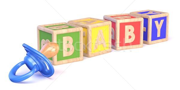 Kelime bebek oyuncak emzik 3D Stok fotoğraf © djmilic