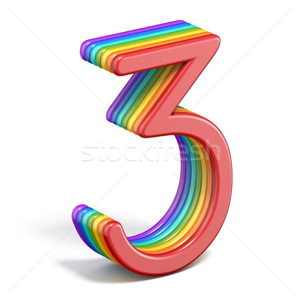 Rainbow font number 3 THREE 3D Stock photo © djmilic