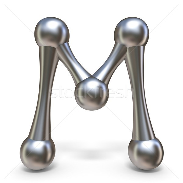 Steel molecular font Letter M 3D Stock photo © djmilic