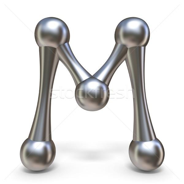 çelik moleküler mektup m 3D 3d render Stok fotoğraf © djmilic