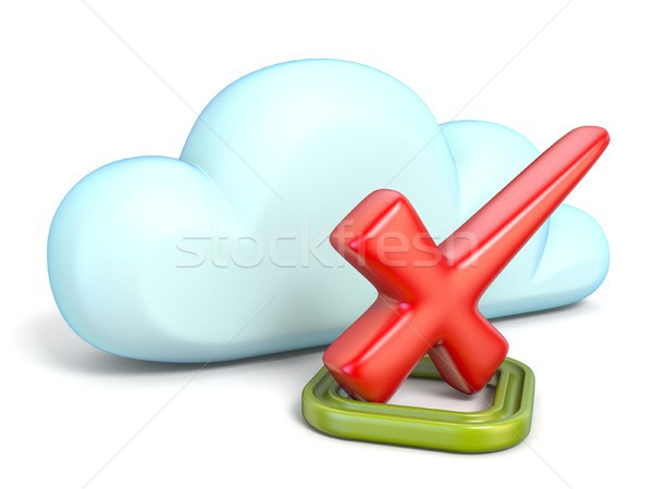 Chmura icon czerwony sprawdzić ocena 3D Zdjęcia stock © djmilic