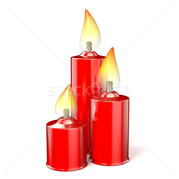 Three red candles. 3D Stock photo © djmilic